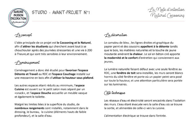 Studio Duplex Avant-Projet n°1 Note d'intention